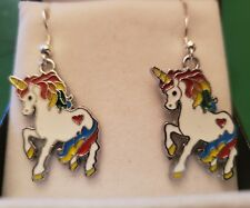 A Pair of Ladies RAINBOW BRIGHT UNICORN Silver FISH HOOK Earrings,
