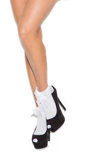 Nylon Anklet Socks Ruffle Trim and Satin Bow Black Pink Red White 1784