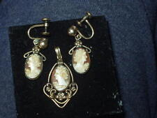 Cameo pendant Carved Shell Gold filled w/matching earrings