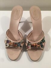 Gucci Multicolour Canvas Slide  Sandals With Bamboo Heel