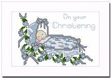 BABY BOY CHRISTENING CROSS STITCH CARD KIT