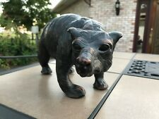 Vintage Antique Black brown grizzly BEAR Figurine leather wrapped