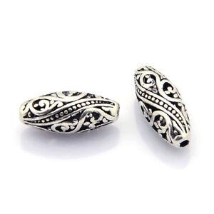 10 Tibetan Alloy Filigree Oval Metal Beads Hollow Loose Spacer Nickel Free 17mm