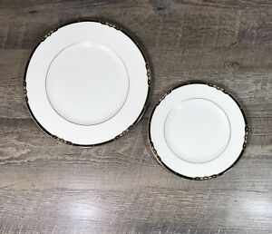 Wedgwood PRESTON Dinner Plate & Salad Plate White Black Gold Bone China England