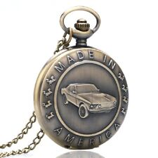 Taschenuhr mit Kette Motiv US Dream Cars Ford Mustang Made in America  (UG24)