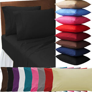 2 X PILLOW CASE LUXURY CASES PERCALE  HOUSEWIFE PAIR PACK BEDROOM PILLOW COVER