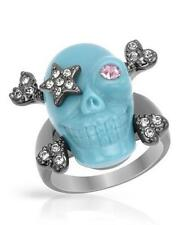 WILDFOX COUTURE GUN METAL/TURQUOISE/CRYSTAL SKULL STAR PIRATE PATCH RING**SZ 8