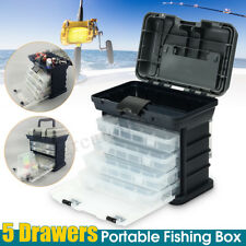 5-Drawer Fishing Tackle Box Kit Plano Lures Storage Tray Case Tool