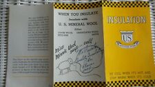 Vintage  Advertising Brochure US MINERAL WOOL INSULATION