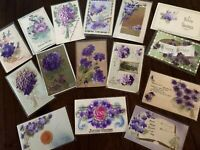 Lot of 15~VIOLETS  Flowers Antique Velvet Airbrushed Greetings~ Postcards-h332