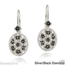 DIAMOND BLACK DIAMOND & STERLING SILVER LEVERBACK EARRINGS OVAL FILIGREE DECO