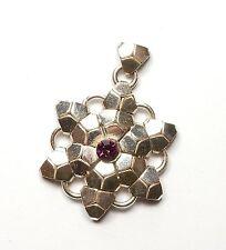 925 Sterling Silver Purple Cubic Zirconia Snowflake Large Pendant 7.2g