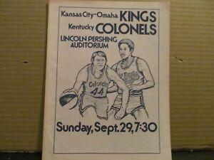 RARE ABA BASKETBALL PROGRAM 9-29 1974 KENTUCKY COLONELS VS KC OMAHA KINGS