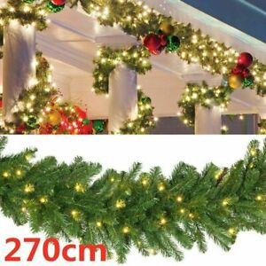 9FT Artificial Christmas Garland XMAS Decorations Imperial Pine Fireplace Wreath