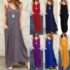 Women Summer Sleeveless Spaghetti Straps Beach V Neck Long Maxi Sundress Dresses