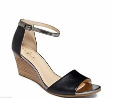 Cole Haan Rosalin Wedge Black Leather Ankle Strap Sandals Shoes Women's 9.5 New