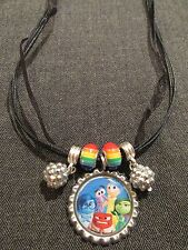 Ribbon Bottle Cap Bling Charm Necklace Beads Inside Out Joy Anger Disgust Anger