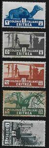 Eritrea Scott #158-59, 161-62 & 164, Singles 1934 FVF MH/Used