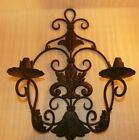 """18"""" Vtg Black Cast iron Ornate scrollwork Candelabra wall Candle holder sconce"""