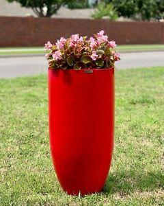 25-37 Inches Tall Fiberglass Planter, Round Tall Home - Garden Planter In Gloss