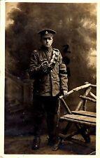 WW1 soldier 18th Hussars wears slip over shoulder title British Cavalry Tidworth