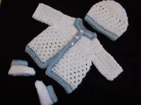 Handmade Crochet Baby Boy Sweater, Booties & Hat Set  Newborn 6 Months