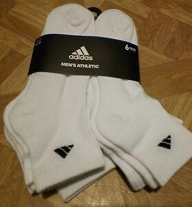 Adidas Quarter Socks 6-Pair Athletic Men's 6-12 White Brand New