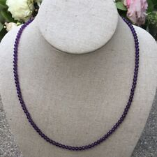 New Amethyst Sterling Silver Small Round Smooth Bead Necklace NB 925