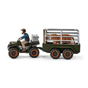 Schleich 42351 Quad bike with trailer and ranger Wild Life Jungle expansion pack