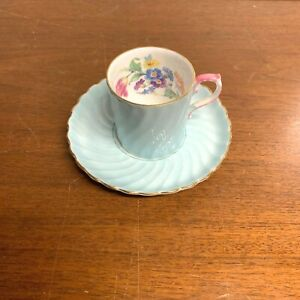 Vintage Aynsley China Teacup and Saucer Demitasse Turquoise Swirl Pink Handle