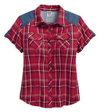 HARLEY-DAVIDSON DENIM PLAID CHECKED WOMEN'S SHIRT 96006-18VW SMALL