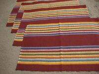 """Set of 4 Woven Striped Design Burgundy Multi-colored Placemats--18"""" x 13""""     G1"""