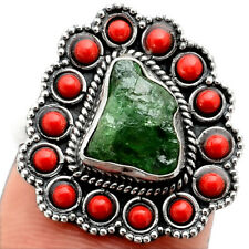 Green Grossular Garnet and Coral 925 Sterling Silver Ring Jewelry s.7 SDR91712