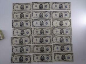 Vtg United States Note $5 Silver Certificate Collection 1934 Dollar Bill $100 FV