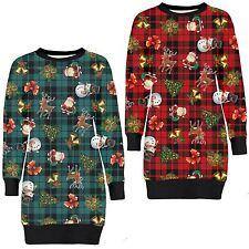 New Ladies Santa Snowman Xmas Gift Reindeer Bells Jumpers Tartan Tops 8-22