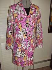 MOD Flower Power Coat Jacket by Kenar Cute Pink Vintage Hippie style Size 6