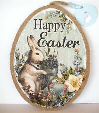 Happy Easter Bunny Rabbit Spring Floral Egg Wall Victorian Decor Sign 12