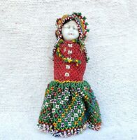 1920s Vintage Handmade Beads Work Clothes Frozen Charlotte Porcelain Doll Japan