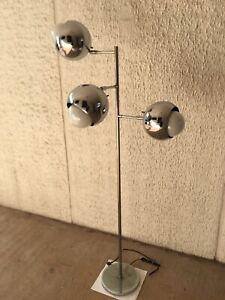 Vtg Koch Lowy Orb Ball Space Age Mod Chrome Floor Lamp