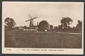 Postcard Denver nr Downham Market Norfolk windmill and Common posted 1909 RP WHS