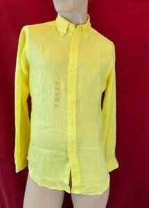 BNWT RALPH LAUREN Classic Fit, Yellow, 100% Linen Shirt. Long Sleeve. Size S