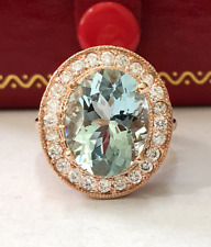 5.35 Carat Natural Blue Aquamarine and Diamonds 14K Solid Rose Gold Ring