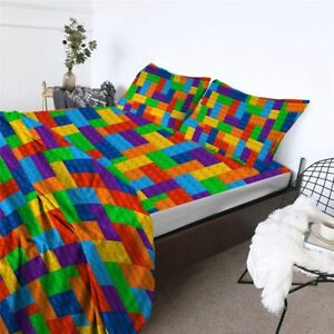 Bed Sheets Game Toy Print Microfiber Sheet Set Dot Building Blocks Non-Fade Twin