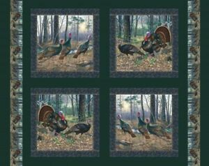 Turkey Morning Gobblers Tom Hens Thanksgiving Set of 4 Panels on Cotton Fabric