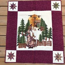 Woodland Patchwork Santa Christmas Quilt Wall Hanging Evergreens Geese 30 x 34