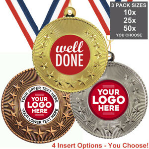 WELL DONE SCHOOL METAL MEDALS 50mm, PACK OF 10 RIBBONS INSERTS OWN LOGO & TEXT