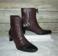 Maryland Square Ms Kitty Burgundy Leather Sz 9.5 N Lace Up Western Granny Boots