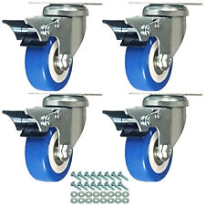 "4 Pack Caster Wheels Swivel Plate With HD hardware Kit (2"" w/ brake)"