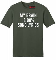 My Brain 80% Song Lyrics Funny Mens Soft T Shirt Music Lover Gift Tee Z2