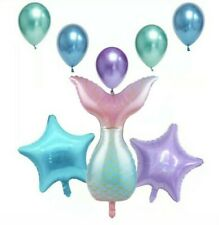 8 PC Glitter mermaid tail Balloon set foil  latex birthday party under the sea